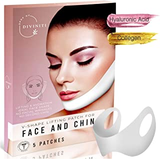 V Shaped Slimming Face Mask - V Line Lifting Mask Chin Up Patch Double Chin Reducer Chin Mask Tightening Firming Face Lift Tape Neck Mask Anti Aging Face Mask - 5 Masks - Drop of DiviniTi
