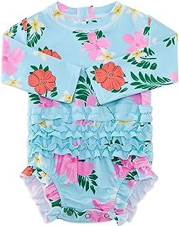 Baby Girls Ruffle Swimsuit Hawaiian Rashguard Shirt...