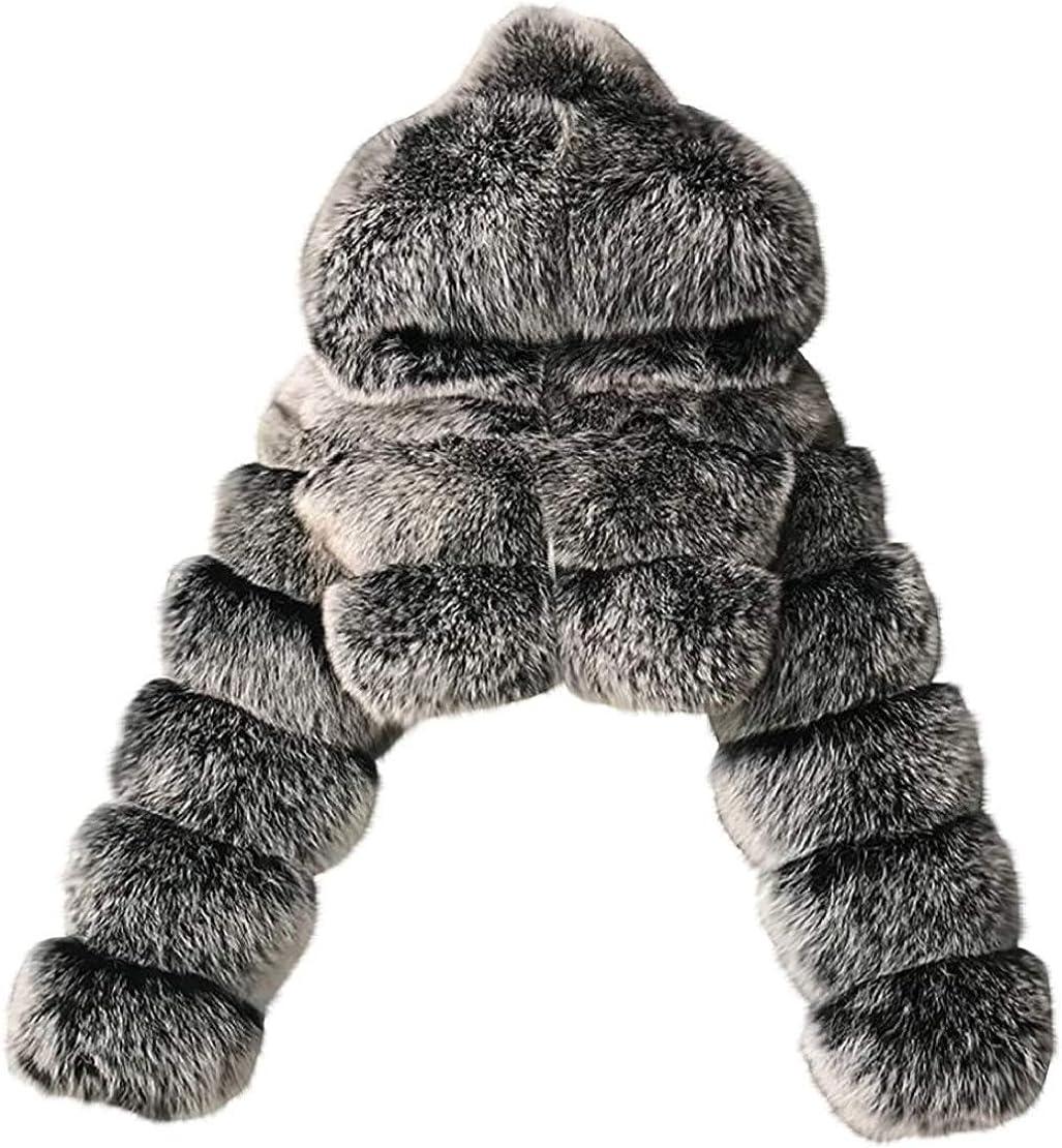 Women's Luxury Winter Faux Fur Hooded Cropped Coat