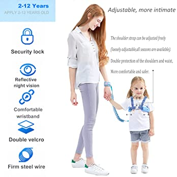 Toddler Leash for Walking, Toddler Safety Harnesses Leashes, Safety Harness with Lock for Kids, Anti Lost Wrist Link ...