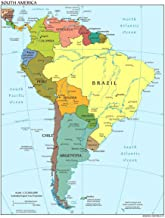 Gifts Delight Laminated 24x31 Poster: Detailed Political map of South America with Capitals and Major citiesMaps of