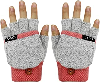Winter Warm Knit Mittens Covertible Flip Top Fingerless Gloves with Mitten Cover for Women Girls