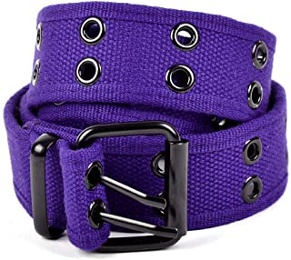 Casual Unisex Canvas Belt Double Hole Belt - Double Grommets Belt for Men and Women