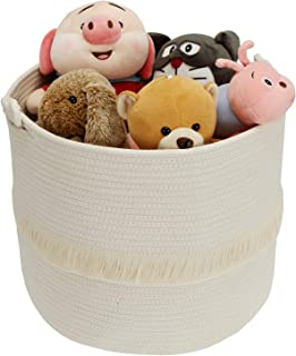 Suwimut Large Woven Storage Baskets, 16 x 13 Inches Cotton Rope Baby Laundry Basket Decorative Hamper for Nursery, Toys, B...