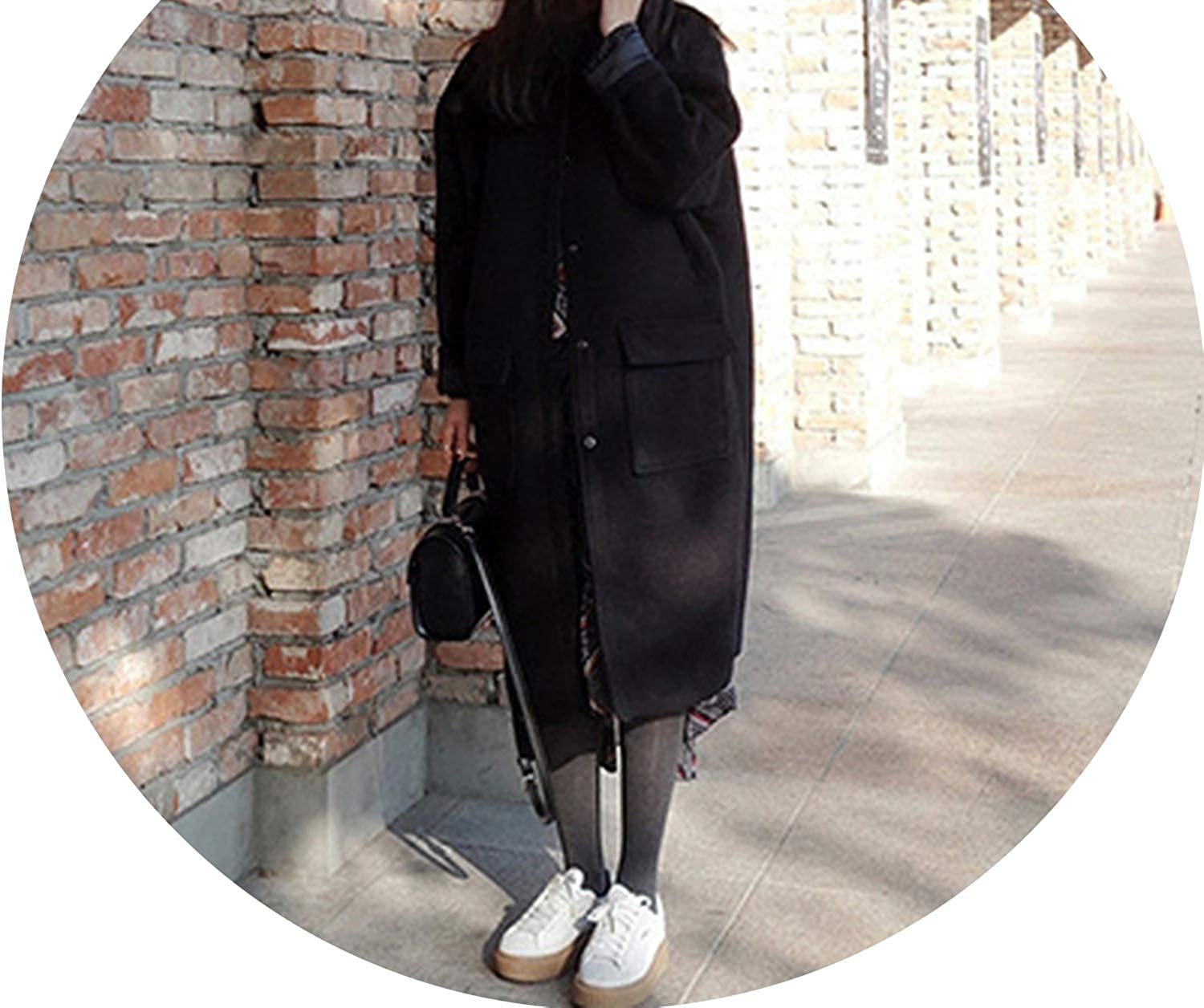 Souieyshop Fashion Baseball Wool Coat Female Outerwear Long Loose Womens Winter Jackets and Coats