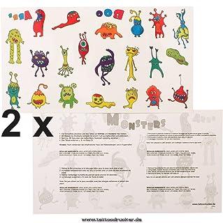 2 x monstertattookaart - 42 kleurrijke motieven voor kinderen - Eenmaal tijdelijke Halloween huid tattoo (2)
