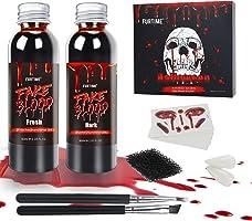 Halloween Sangue Finto, Sangue Artificiale Fresco 60ml, Sangue Finto Rosso Scuro 60ml, Denti da zombie, 30 tatuaggi...