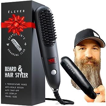 Beard Straightener For Men - 2-1 Heated Beard Brush & Hair Straightener with BONUS pouch | Fast, Anti-fizz, Ionic Beard Comb. Powerful Beard Straightening Comb, Hot Comb Electric Styling Brush (2020)
