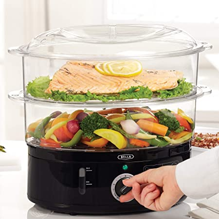 BELLA Two Tier Food Steamer, Healthy, Fast Simultaneous Cooking, Stackable Baskets for Vegetables or Meats, Rice/Grains Tray, Auto Shutoff & Boil Dry Protection, 7.4 QT, Black