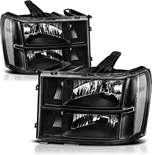 Headlights Replacement for 2007-2013 GMC Sierra 1500/2007-2014 Sierra 2500HD 3500 HD Headlamp Assembly Black Housing Clear Reflector, Passenger and Driver Side