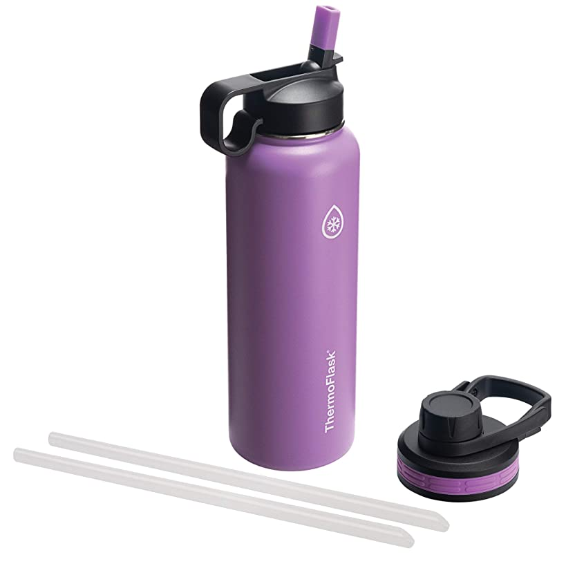 Thermoflask 50063 Double Insulated Stainless Steel Water Bottle with Chug Straw Lid, 40 oz, Plum