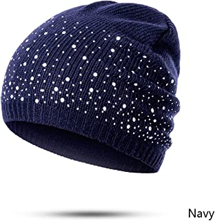 Winter Autumn Beanie Hats Women Soft Knitting Skullies Beanies Hat Female Rhinestone Cotton Hat Cap