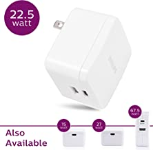 Philips 15W USB-C Wall Charger, for iPhone 11/Pro/Max/XS/XR/X/8, Ipad Pro/Air/Mini, Samsung Galaxy S10/S9/Plus, Google Pixel C/3/2/XL and More, 22.5W USB-C & USB Port Total Power, White, DLP2507A/27