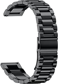 NotoCity Stainless Steel Metal Watch Band for Huawei Watch,18mm Watch Band for whithings Activite/Steel/Pop Watch,Quick Release Replacement Watch Strap for Mens Womens Sport Watchbands-18mm Black