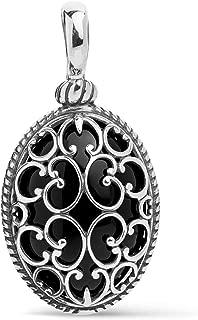 Carolyn Pollack Sterling Silver Black Agate Gemstone Overlay Scroll Filigree Pendant Enhancer