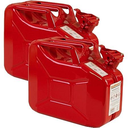 2er Set 10 Liter Benzinkanister Metall Ggvs Mit Sicherungsstift Rot Blechkanister Auto