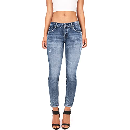 ba2bd6a1e Wax Women's Juniors Low Rise Faded Ankle Jeans