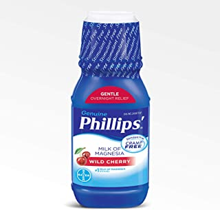 Phillips' Milk of Magnesia Liquid Laxative, Wild Cherry, 12 oz, Cramp Free & Gentle Overnight Relief Of Occasional Constip...
