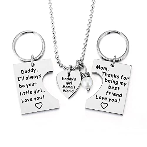 ELOI Gifts For Daughter Daddys Girl Mommys World Mother Father Necklace Keychain Pendant Jewelry Set