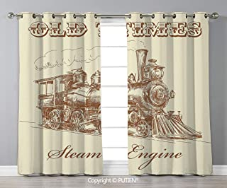 Grommet Blackout Window Curtains Drapes [ Steam Engine,Old Times Train Vintage Hand Drawn Iron Industrial Era Locomotive,Ivory Pale Caramel ] for Living Room Bedroom Dorm Room Classroom Kitchen Cafe