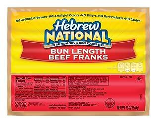 Hebrew National Bun Length Beef Franks, 12 Ounce, 6 Count