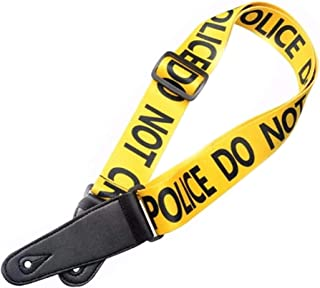 Guitar Strap Adjustable | For Bass, Guitar, etc. | Electric Acoustic | Cool Yellow Police Strap Belt
