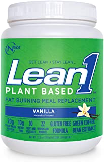LEAN1 Nutrition 53 Meal Replacement Powder for Weight Loss, Fat Burner, Appetite Control, Plant Based Vanilla (27.5 Ounce)