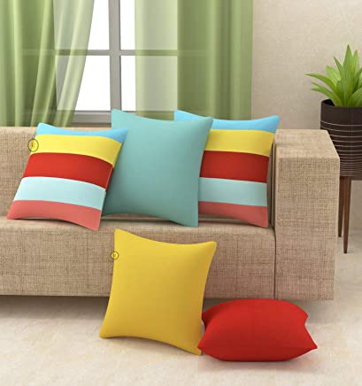 Yellow Weaves™ Cotton Canvas Decorative Cushion Covers (16 X 16 Inches) Set of 5, Multi Colour