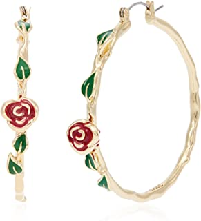 Disney by Couture Kingdom Women's Disney Beauty & The Beast Rose Bud Earrings