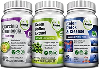 Weight Loss Trio - Green Coffee Bean w/ 50% Chlorogenic Acid + Garcinia Cambogia Extract & Colon Detox | 14 Day Diet Plan ...