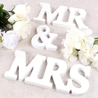 Super Z Outlet White Wooden Mr and Mrs Signs Wedding Present for Party Table Top Dinner Decoration, Display Stand Figures, Home Wall
