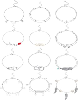 LOLIAS 12Pcs Anklets for Women Silver Plated Ankle Bracelets Set Boho Layered Beach Adjustable Chain Anklet Foot Jewelry