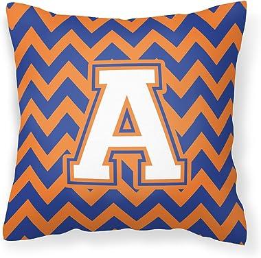 Caroline's Treasures CJ1060-APW1414 Letter A Chevron Blue and Orange #3 Fabric Decorative Pillow, 14Hx14W, Multicolor