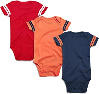 Infant Solid Baby Football Sport Jersey Bodysuits 3 Pack 0-24 Months