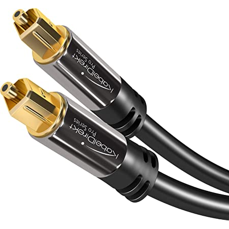 KabelDirekt – 20 feet – Optical Digital Audio Cable (TOSLINK Cord, Fiber Optic, Male to Male, Home Theater, Gold Plated, S/PDIF, for Playstation 4/PS4 & Xbox One, Black)