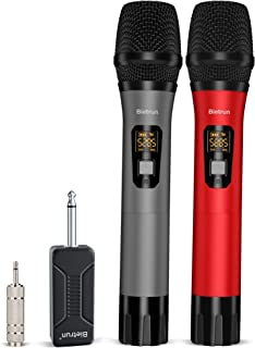 Wireless Microphone, UHF Wireless Dual Handheld Dynamic Mic System Set with Rechargeable Receiver, 260ft Range, 6.35mm(1/...