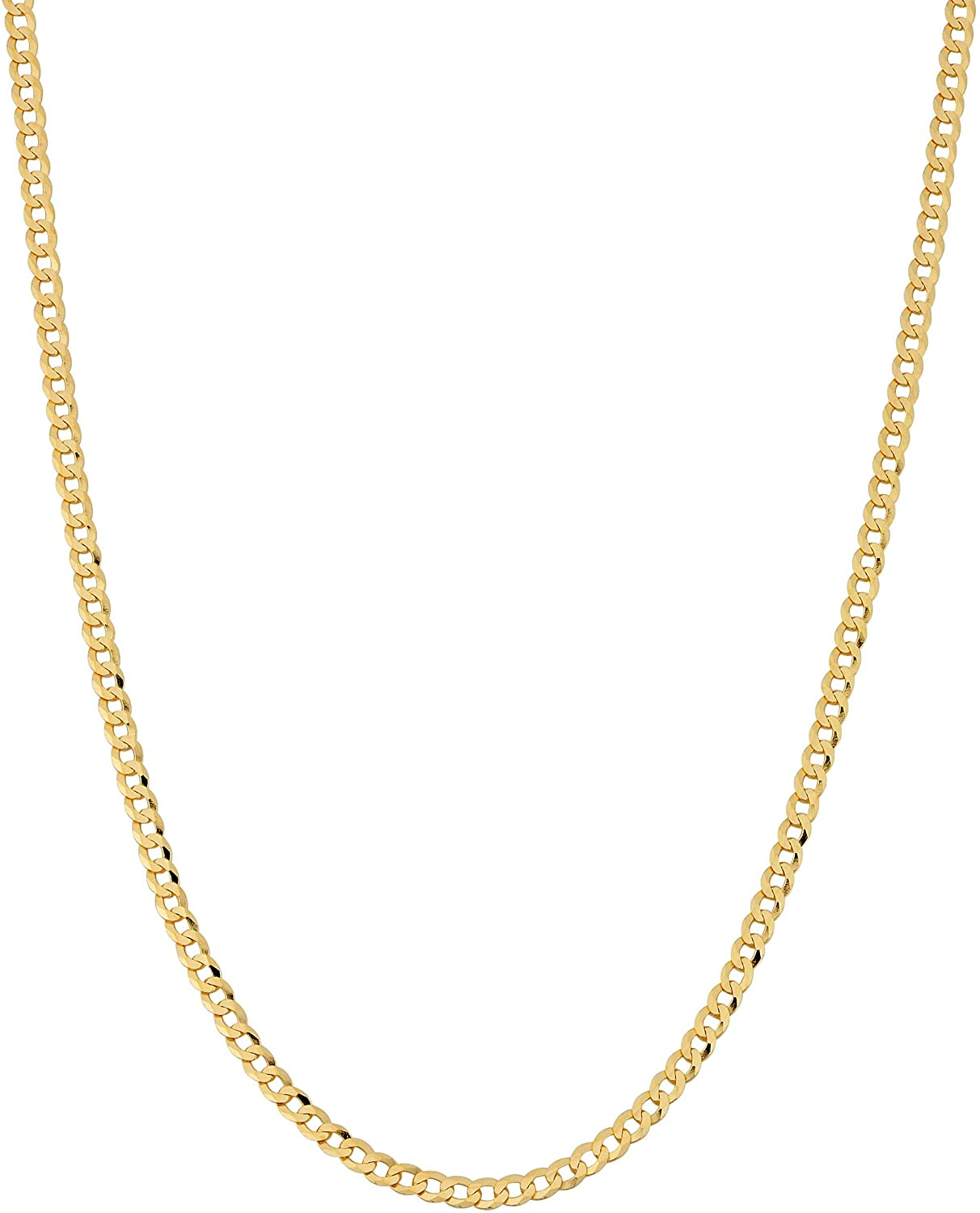 ARGENTO REALE 14K Gold 2.25MM Curb/Cuban Chain Necklace, 14K Gold Chain, 14K Dainty Necklaces