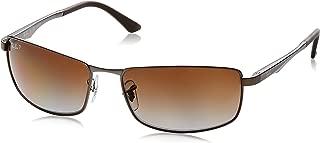 RAY-BAN Men's RB3498 Rectangular Metal Sunglasses, Matte Gunmetal/Polarized Brown Gradient, 61 mm