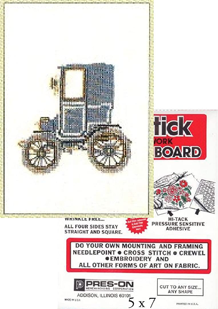 2 Item Bundle: Antique Car Renault 1898 Cross Stitch Kit and 5 x 7 Adhesive Mounting Board