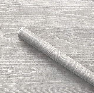 UPREDO Gray Wood Adhesive Paper Wooden Grain Effect Countertops Decorative Vinyl Film Sticker 17.7inch by 100inch