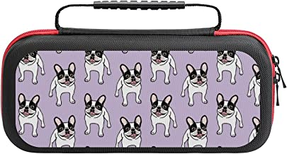 $26 » Happy Double Hooded Pied Frenchie Case Compatible with Switch Case Protective Carry Bag Hard Shell Storage Bag Portable Tr...
