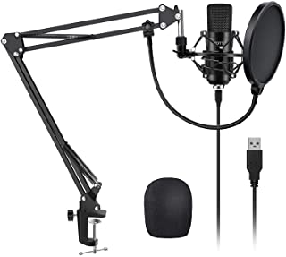 YOTTO USB Microphone Kit 192KHZ/24BIT Plug & Play Computer PC Microphone Studio Streaming Cardioid Mic with Boom Arm Shock...