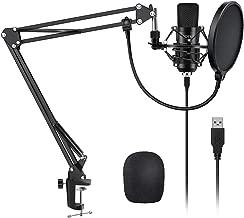 YOTTO USB Micrófono de condensador cardioide Micrófono para ordenador (192KHz/24bit Plug and Play) Profesional Micrófono con soporte de micrófono Brazo de tijera, filtro pop, montaje antichoque