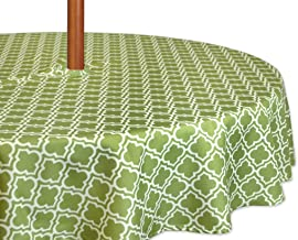 Design Imports Green Lattice Umbrella Tablecloth 60