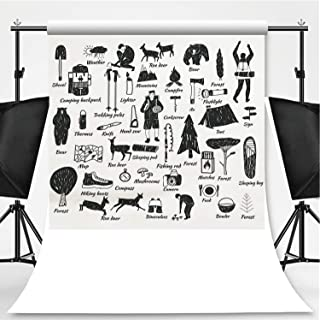 Camping Icons Doodle Text Theme Backdrop Photo Backdrop Photography Backdrop,149899,6.5x6.5ft
