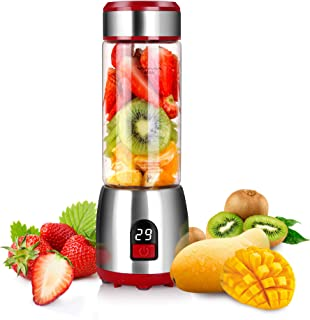 Portable Personal Blender for Smoothies, GUGUYeah USB Glass Blender Juicer Cup with Rechargeable Battery, Single Serve Fru...