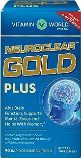 Vitamin World NeuroClear Gold Plus 90 Softgels, Phosphatidylserine, DHA, Ginkgo Biloba, Supports Brain and Mental Focus, Rapid-release, Gluten Free
