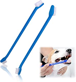 Pets First Softest Bristle Dog Toothbrush Extra Large Long Double Sided for Small & Large Teeth - Set of 2, Blue. Easy to ...