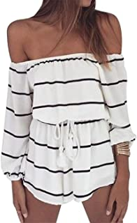 Off Shoulder Stripe Romper Women Strapless Long Sleeve Short Pants Jumpsuit Romper with Tie Waist