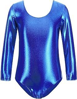 furein Maillot de Danza Ballet Gimnasia Leotardo Body Clásico Brillante Elástico para Niñas de Manga Larga Cuello Redondo (8 años, Azul)